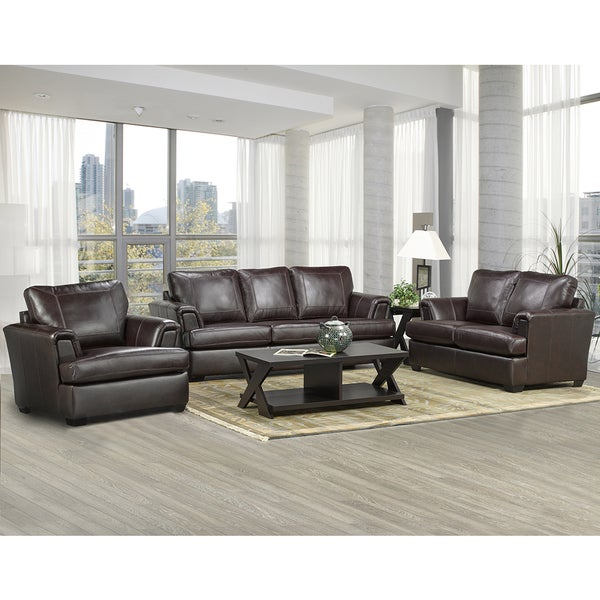 Duke Italian Leather Sofa, Loveseat, and Chair Set