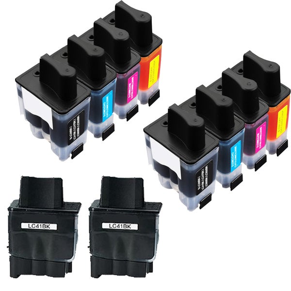 2Sets+2BK LC41 BK C Y M Compatible Ink Cartridge for Brother FAX1840C 1940CN 2440C (Pack of 10)