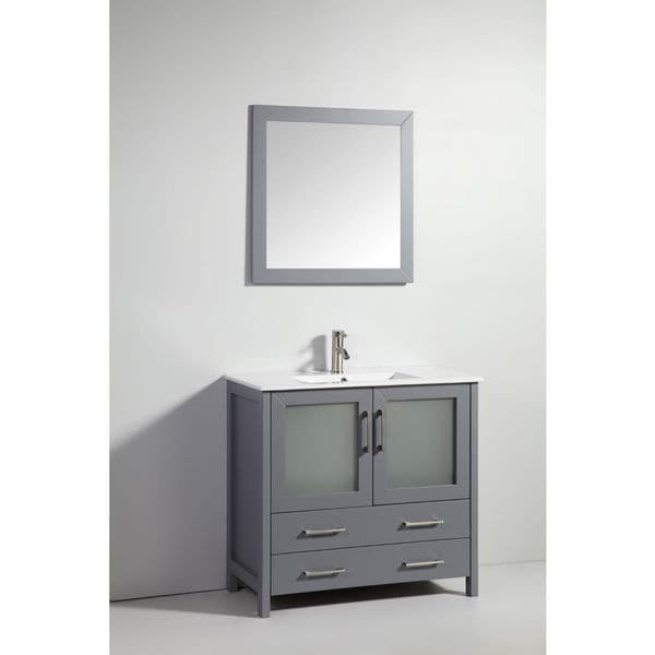 Six Dark Gray Solid Wood Sink Vanity With Mirror No Faucet Free Shipping Today Overstock Com