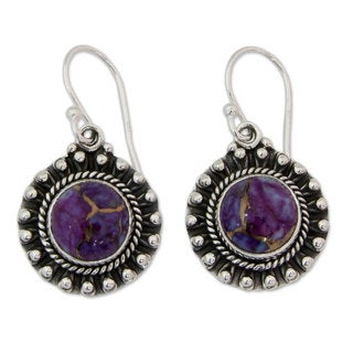 Handcrafted Sterling Silver 'Purple Fire' Turquoise Earrings (India)