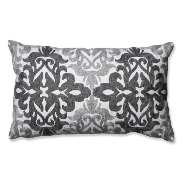 Pillow Perfect Embroidered Grey Geometric Rectangular Throw Pillow