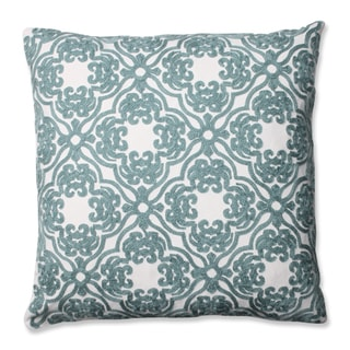 Pillow Perfect Embroidered Spa Blue Damask 16.5-inch Throw Pillow