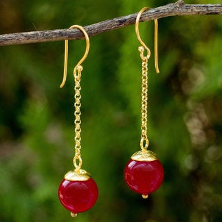 Handcrafted Gold Overlay 'Let's Swing' Red Quartz Earrings (Thailand)