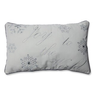 Pillow Perfect 'Joy To The World' Silver / White Embroidered Rectangular Throw Pillow