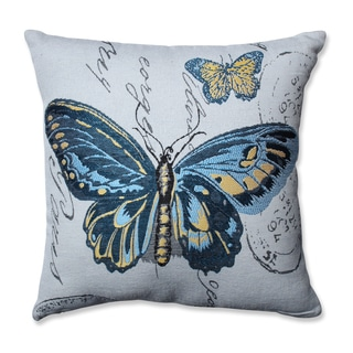 Pillow Perfect Blue Butterfly Jacquard 16.5-inch Throw Pillow