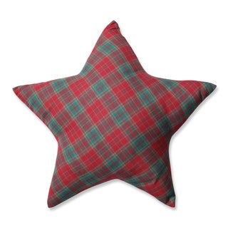 Pillow Perfect Red/Green Plaid Star Pillow