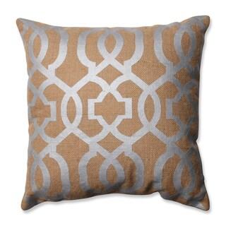 Pillow Perfect Silver Geometric Tan Burlap 16.5-inch Throw Pillow