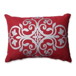 Pillow Perfect Silver Geometric Red Burlap Rectangular Throw Pillow