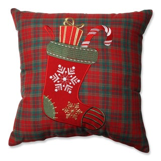 Pillow Perfect Christmas Stocking Plaid 16.5-inch Throw Pillow