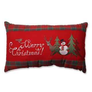 Pillow Perfect Merry Christmas Plaid Rectangular Throw Pillow