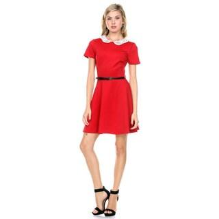 Stanzino Women's Short Sleeve A line Belted Mini Dress