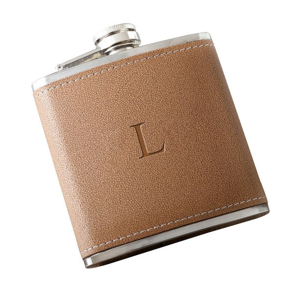 Personalized Tan Hide Stitch Flask