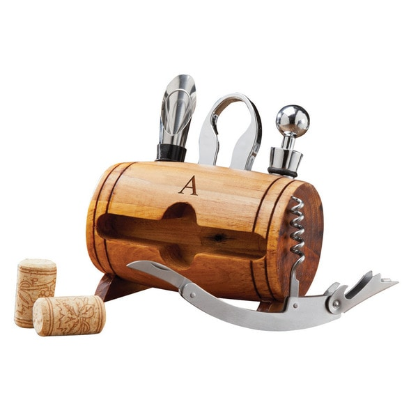 Monogrammed Wine Barrel Accessory Set