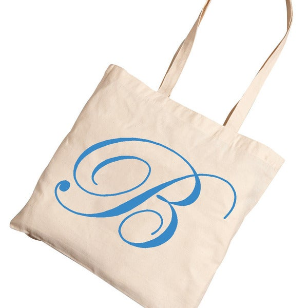 Personalized Blue Initial Tote Bag