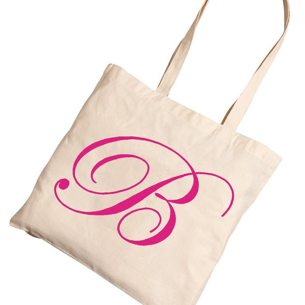 Personalized Pink Initial Tote Bag