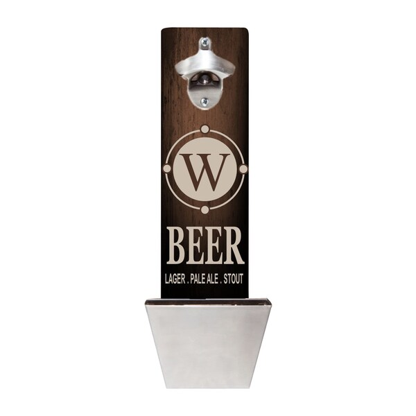 Personalized Beer Wall Mounted Bottle Opener and Cap Catcher