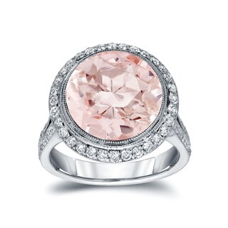 Auriya 14k White Gold 5ct Morganite and 3/4ct TDW Round Cut Diamond Ring (G-H, SI1-SI2)