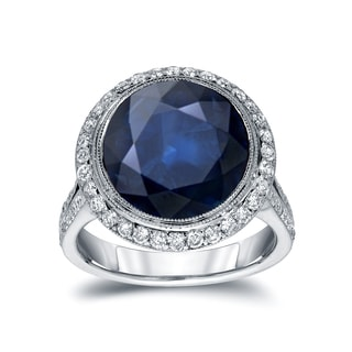Auriya 14k White Gold 5ct Blue Sapphire and 3/4ct TDW Round Cut Diamond Ring (G-H, SI1-SI2)
