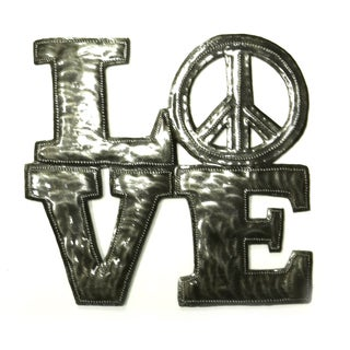Handcrafted Recycled Steel Drum Love/Peace Metal Wall Art (Haiti)