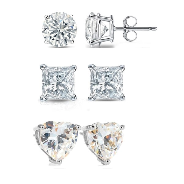 3 Pack Set Of Round, Square & Heart Swarovski Elements Crystal Stud Earrings In Sterling Silver