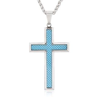 Crucible Stainless Steel Blue Carbon Fiber Cross Pendant