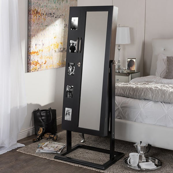 Vittoria Black Finish Wood Square Foot Floor Standing Double Door Storage Jewelry Armoire Cabinet