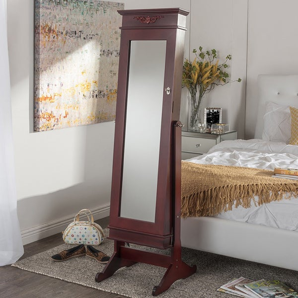 Bimini Brown Finish Wood Crown Molding Top Free Standing Full Length Cheval Mirror Jewelry Armoire