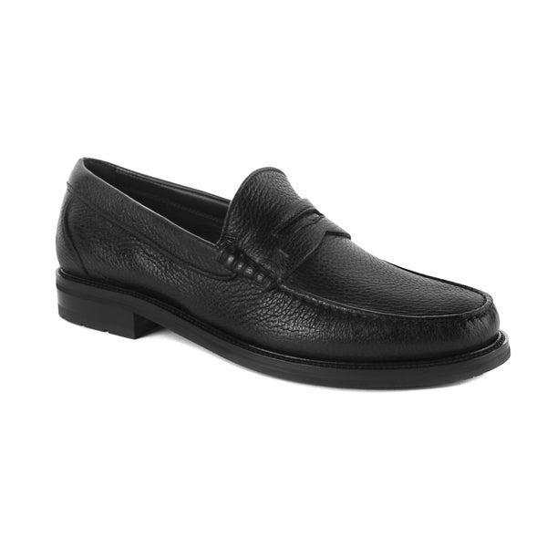 Ermenegildo Zegna Black Pebbled Leather Scarpe Loafers Shoes