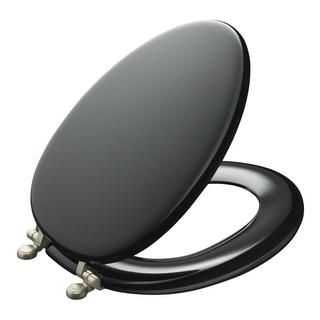Elongated Black Molded Wood Solid Toilet Seat 11525409