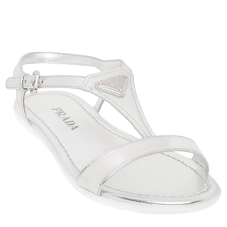 Prada Metallic Leather Logo T-Strap Sandals