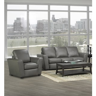 Augusta Italian Leather Sofa and Two Chair Set