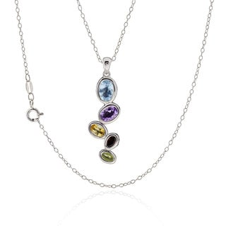 Sterling Silver Oval Blue Topaz Amethyst Citrine Peridot 18-inch Necklace (China)