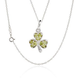 Sterling Silver Round Peridot Clover 18-inch Necklace (China)