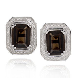 Sterling Silver Octagon Smoky Quartz Stud Earrings (China)