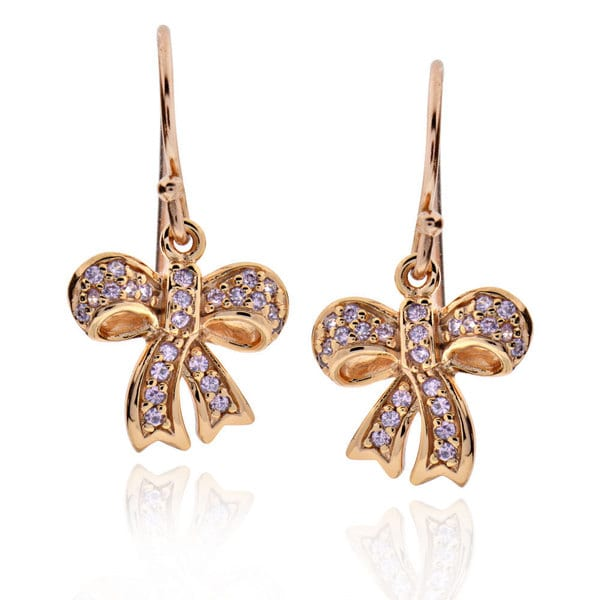 Sterling Silver Rose Gold Plated Round Cubic Zirconia Bowknot Dangle Earrings (China)
