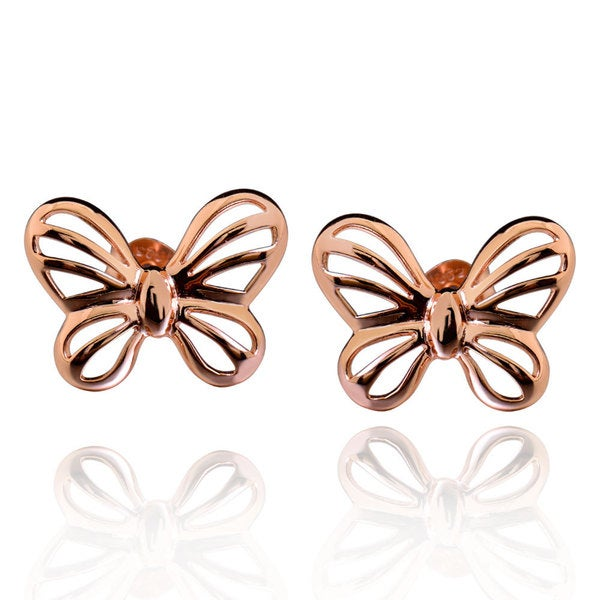 Sterling Silver Rose Gold Plated Cut-Out Butterfly Stud Earrings (China)