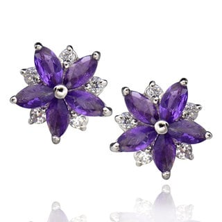 Sterling Silver Marquise Amethyst Flower Stud Earrings (China)