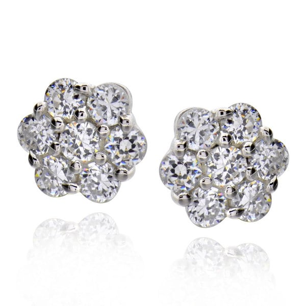 Sterling Silver Round Cubic Zirconia Flower Stud Earrings (China)