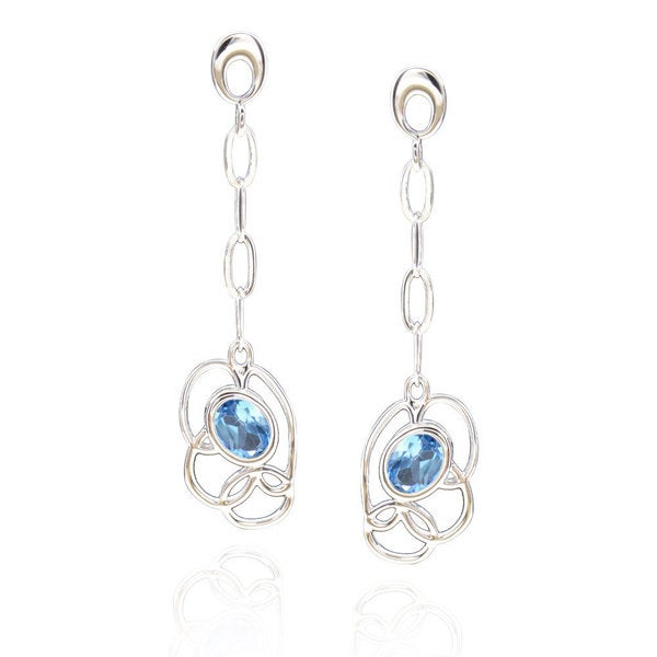 Sterling Silver Oval Blue Topaz Multi Link Earrings (China)
