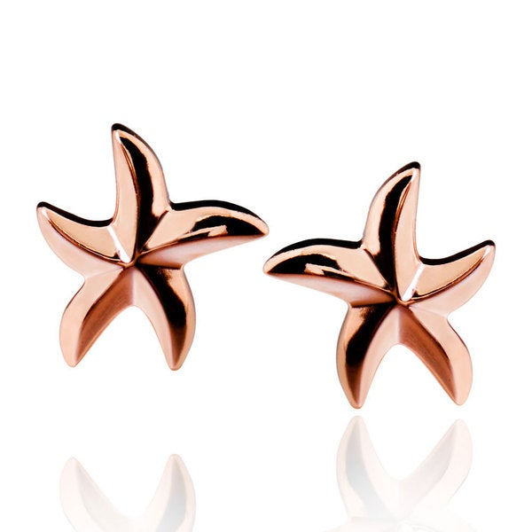 Sterling Silver Rose Gold Plated Starfish Stud Earrings (China)