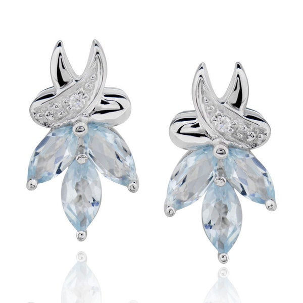 Sterling Silver Marquise Blue Topaz Stud Earrings (China)
