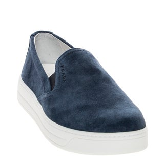 Prada Women's Navy Suede Slip-On Sneakers