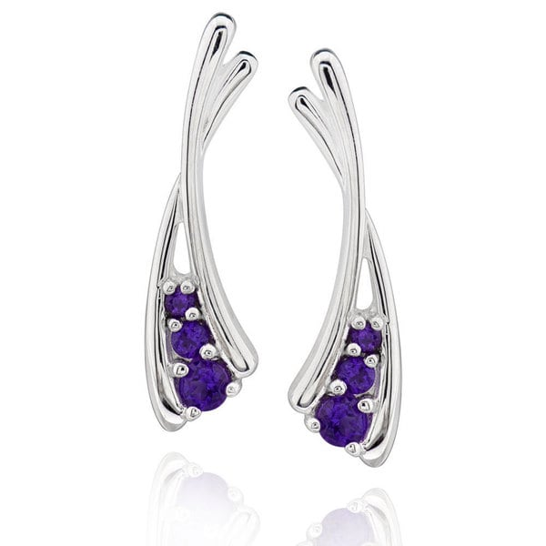 Sterling Silver Round Amethyst Stud Earrings (China)