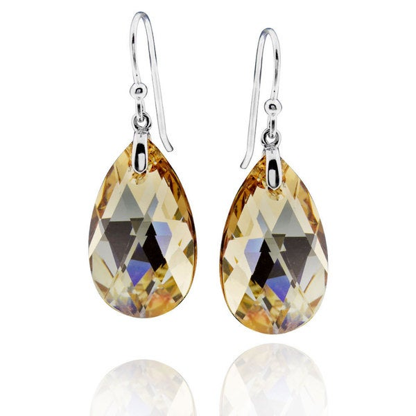 Sterling Silver Pear Crystal Dangle Earrings (China) 16281108