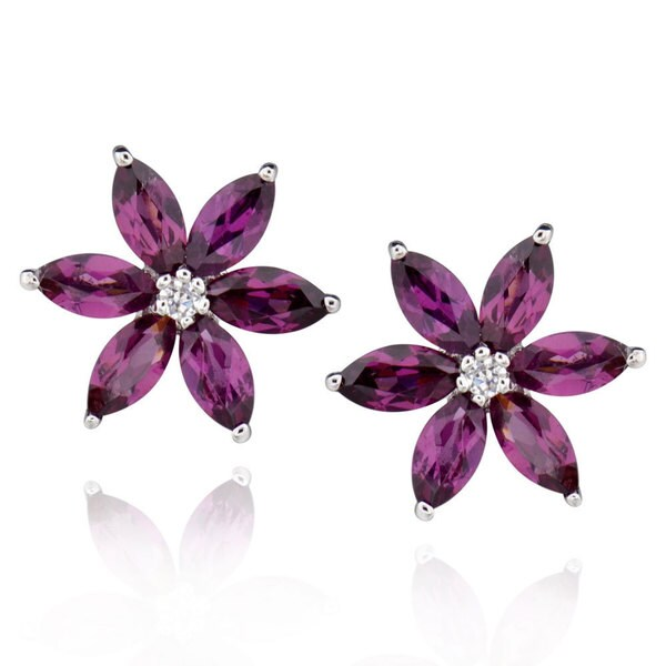 Sterling Silver Marquise Rhodolite Stud Earrings (China)