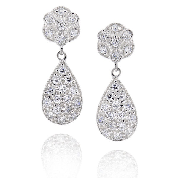 Sterling Silver Round Cubic Zirconia Earrings (China)