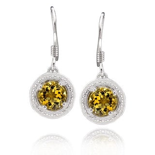Sterling Silver Round Citrine Dangle Earrings (China)