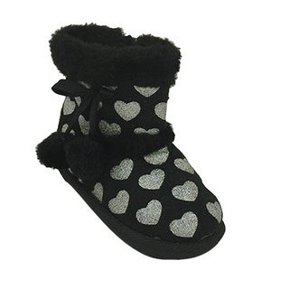 Toddler Girls' Boots with Foil Heart Imprints
