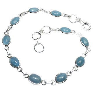 Handcrafted Sterling Silver Aquamarine Bracelet (India)