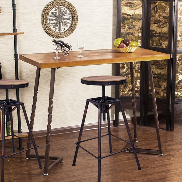 Adeco Vintage Adjustable Metal Square Style Barstool with Wooden Top